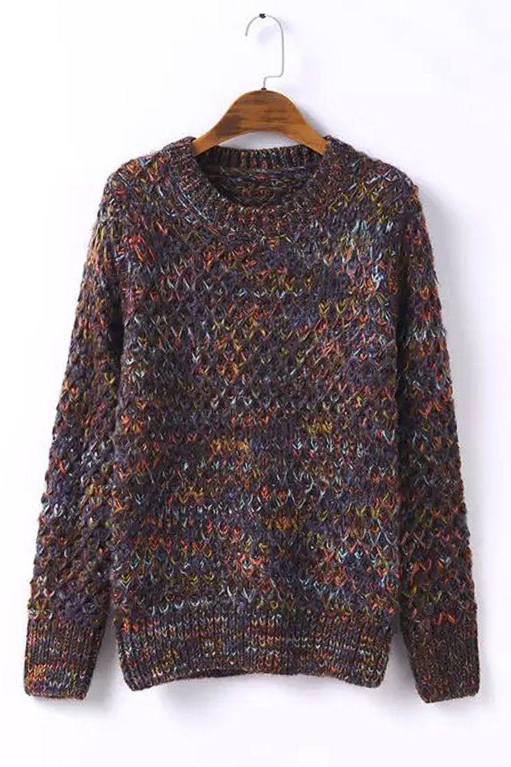 Brown Mix Chunky Knit Jumper - US$37.95 -YOINS