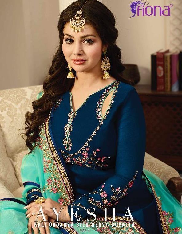 218901c1ae Fiona Ayesha Kali Vol 2 Designer Heavy Embroidered Satin Georgette Anarkali  Wedding Salwar Suit Collection