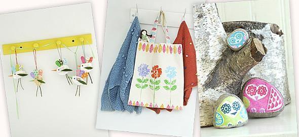Κοχύλια, βότσαλα και κλαδάκια παίρνουν μορφές πουλιών και λουλουδιών σε πέντε απίθανες κατασκευές που φέρνουν την άνοιξη στα παιδικά δωμάτια.