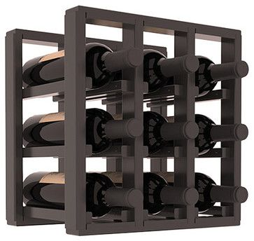 9 Bottle Counter Top/Pantry Wine Rack in Pine, Black Stain + Satin Finish - contemporary - wine racks - Wine Racks America