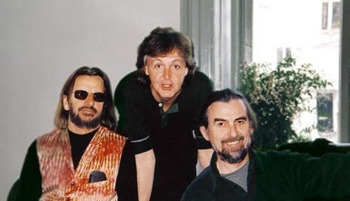 This photo was taken on November 12, 2001. It was the last time George Harrison and the other two Beatles, Ringo Starr and Paul McCartney met all together in New York. This was because George felt he wasn't going to live much longer. George passed away 17 days after this meeting. Crying my eyes out right now.