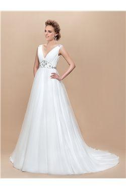 V Neck Beading Straps Sequins Ruched Court Train Wedding Dress Item Code 10899284