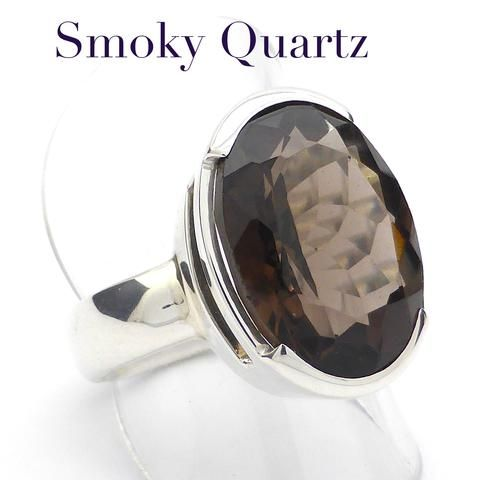 Smoky Quartz Faceted Ring | Large Oval Faceted | 925 Sterling Silver | US Size 7.75 | UK Size P | Sagittarius and Capricorn stone | Crystal Heart Melbourne Australia since 1986