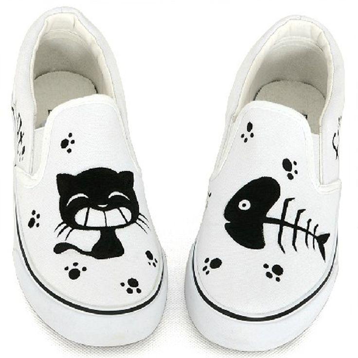 zapatos estampados de gatos - Buscar con Google(Diy Ropa Pintada)