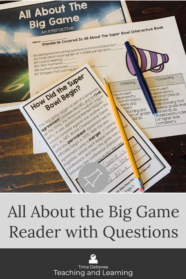 The Super Bowl Is Right Around The Corner This Big Game Football Printable For Kids Allo Text Features Nonfiction Comprehension Informational Texts Activities [ 1102 x 735 Pixel ]