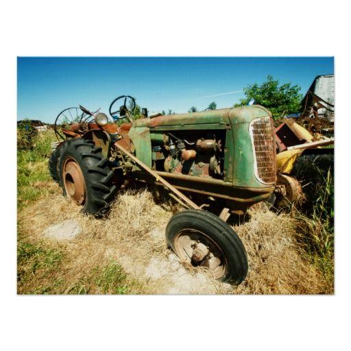 Vieux tracteur vert affiche
