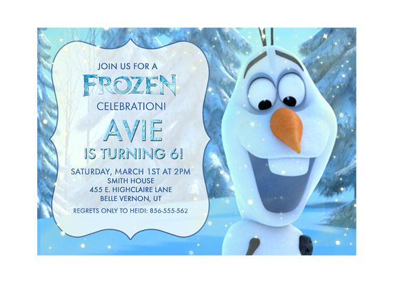 Disney Frozen Printable Birthday Party Invitation Olaf Ideas Pinterest And