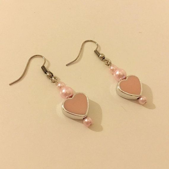 Heart Hear Earrings Pearl Pearl Earrings Pink Earrings