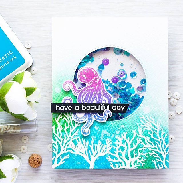 Have a beautiful day from this cute octopus. @heroarts July My Monthly Hero Kit is live - you don't want to miss that underwater goodness! Link in profile - there are stamps, dies, ombre inks and more! #heroarts #mymonthlyhero #shakercard #cardmakinggiveaway #stamping #handmadecard #ручнаробота