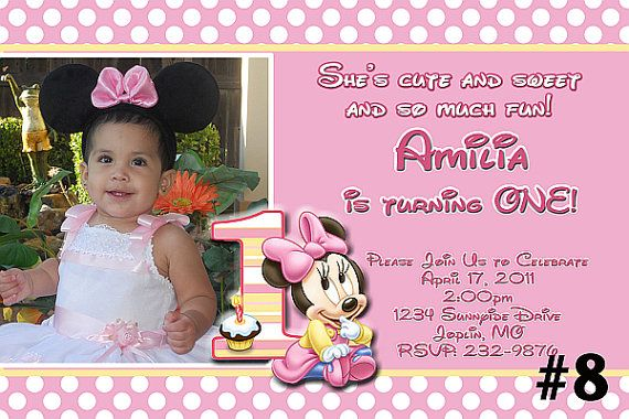 Baby Minnie Mouse First Birthday Invitation Printable Digital File on Etsy, $8.95