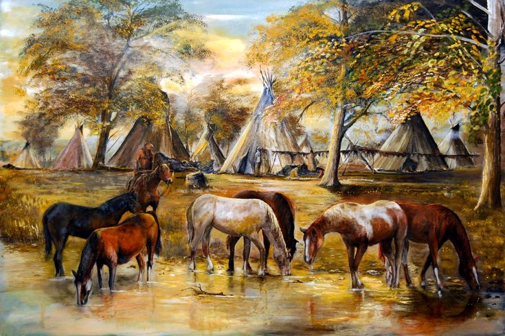 Indian Ponies ~ Native American Village by Patrick Rahming