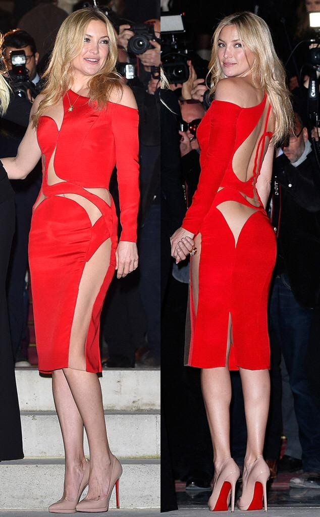 kate hudson flashes a lot of flesh in her daring red versace dress. Black Bedroom Furniture Sets. Home Design Ideas