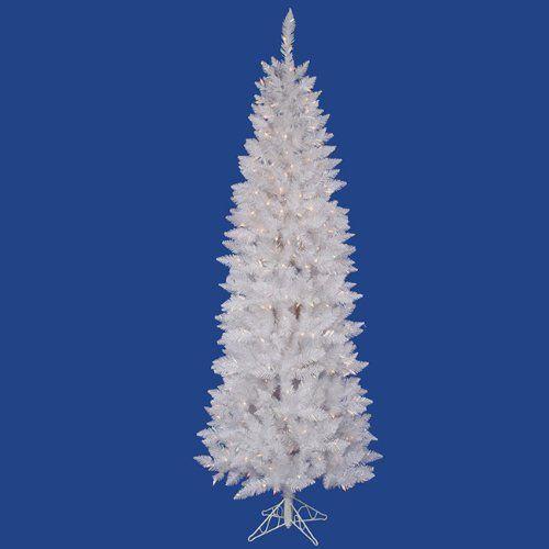 9\u2032 Pre-Lit White Sparkle Spruce Pencil Artificial Christmas Tree