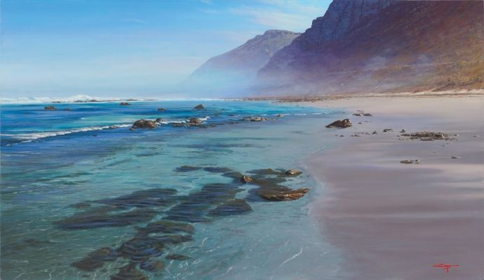 Misty Cliffs Scarborough Cape Town - Painting by Andrew Cooper