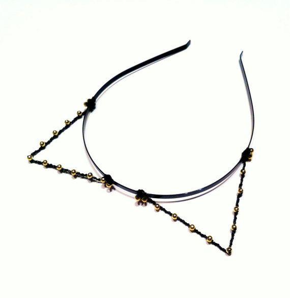 Black & Gold Cat Ears, Beaded Kitty Cat Headband, Metal Wire Kitten Ears, Bachelorette Accessory, Halloween Alice Band, Costume Ears
