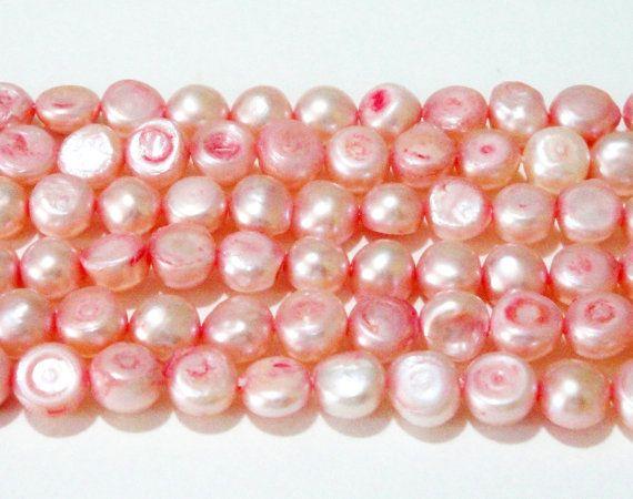 Pink Pearl Beads  Freshwater Flat Sided Potato Pearl by BijiBijoux