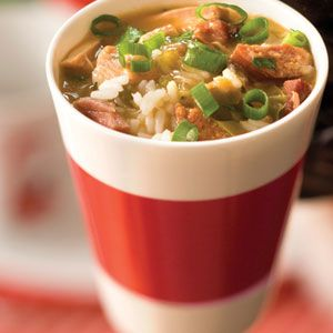 Chicken-Tasso-Andouille Sausage Gumbo Recipe. Make sure you brown the roux enough (rich, dark caramel brown), and if you can't find andouille and tasso you can sub a good smoked sausage and ham. Just add a pinch or two of cayenne to the pot to make up for it.
