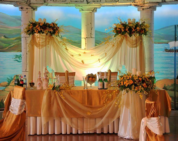 оформление свадьбы в оранжевых тонах, оформление стола молодых, свадьба