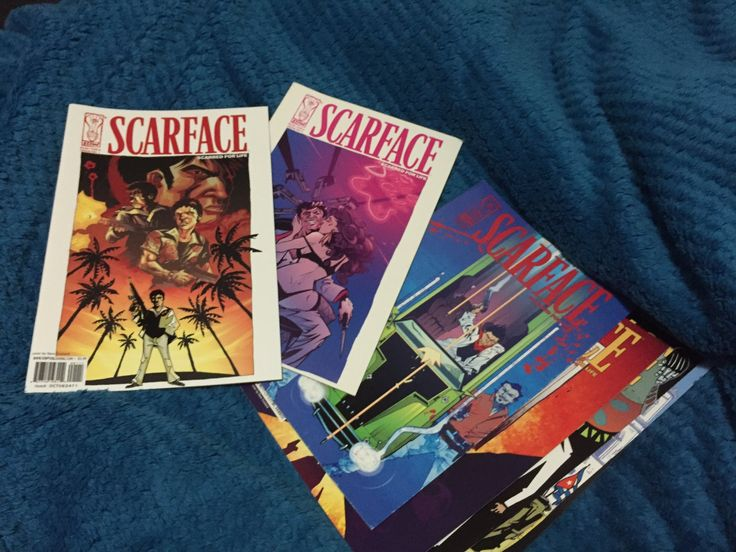 Scarface: Scarred for life comic books as discussed here https://www.youtube.com/watch?v=hlmSK7Yc1Jc
