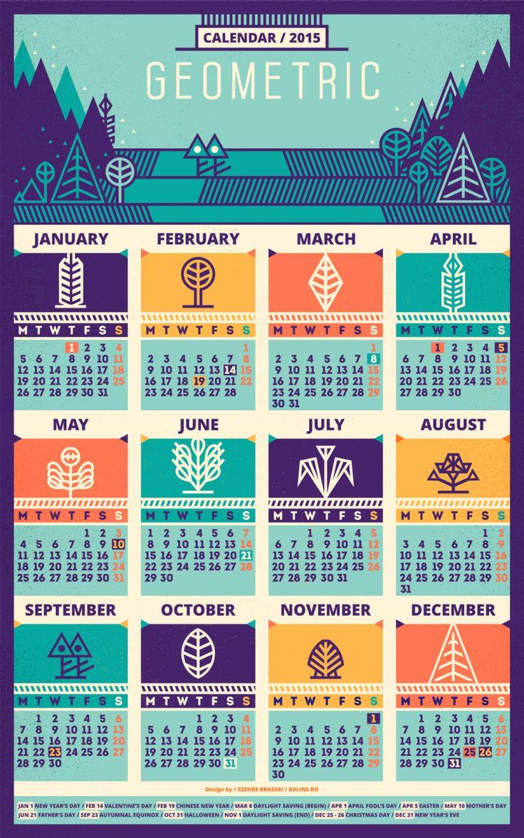 Calendar / 2015 [Geometric - recolored] by Szende Brassai / Adline