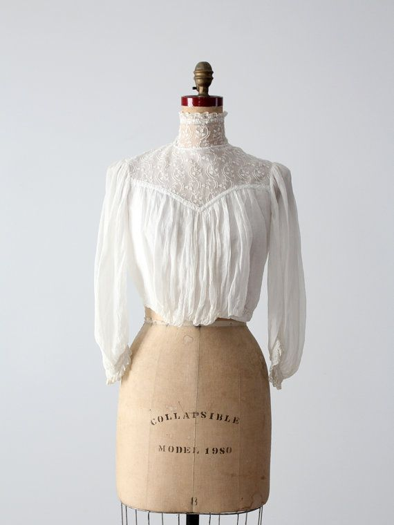 Victorian blouse 1800s white lace top by 86Vintage86 on Etsy