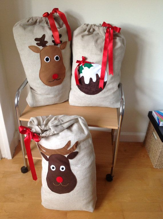 Santa sacks by LilyJackdesigns on Etsy, £25.00