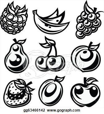 black-and-white-stylized-fruit-icon_gg63466142.jpg (337×370)