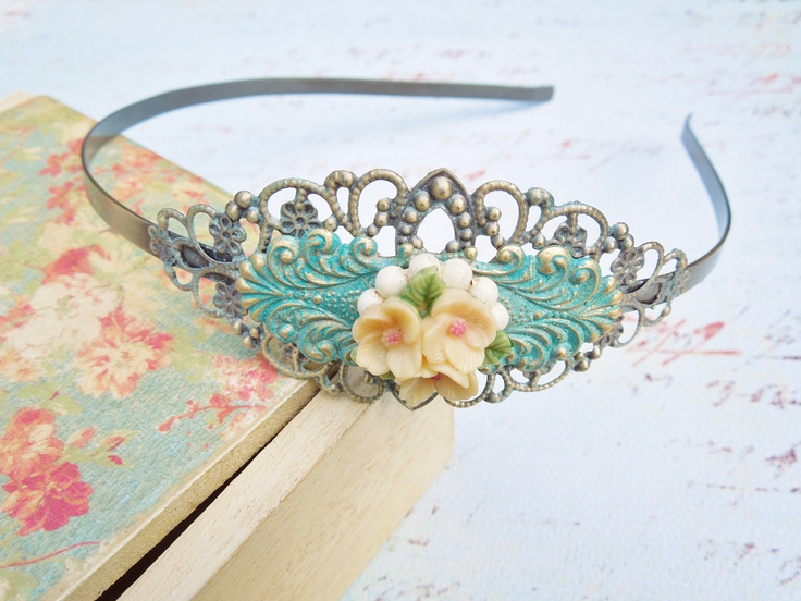 Verdigris Patina Headband With Vintage Brooch  - Vintage Assemblage Headband  - Bridal, Upcycled Vintage Jewlery,Shabby Chic, Hair Accessory. $22.00, via Etsy.