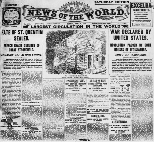 News Of The World from 1917. The worlds oldest international and still operating newspaper dated back to 1846. Now, marred with scandal, the newspaper tabloid has now closed up for good.