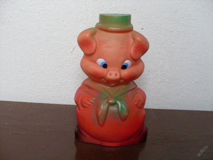 Gumová pískací hračka - tlusté prasátko 18 cm