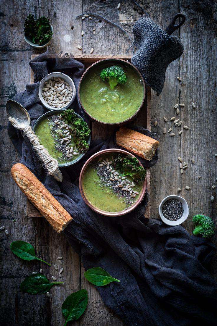Crema de brócoli y espinacas | Broccoli & Spinach Creamy Soup http://saboresymomentos.es