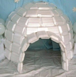 Styrofoam igloo - fun project for excess leftover containers