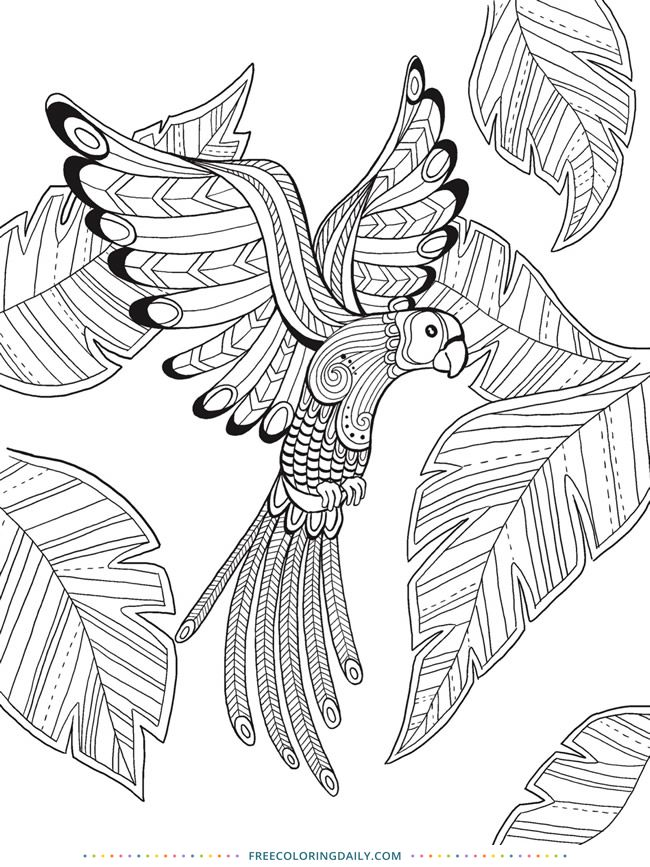 Free Coloring Tropical Bird Bird Coloring Pages Animal Coloring