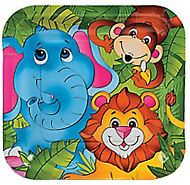 JUNGLE / SAFARI PARTY ~ Zoo Animal Dinner / Lunch Plates - Pack of 8