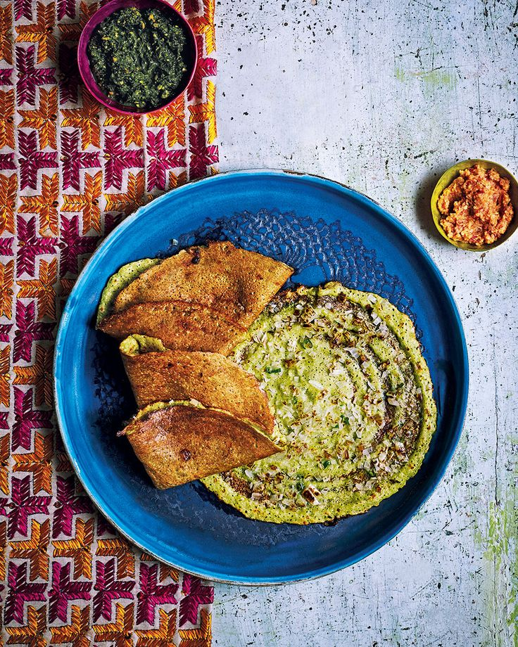 ''Chilla (light pancakes) are a popular snack in Calcutta and many other parts of India. They taste wonderful with coriander and spinach chutney, or chilli and garlic chutney, and with a dhal or a potato curry.'' – Chetna Makan