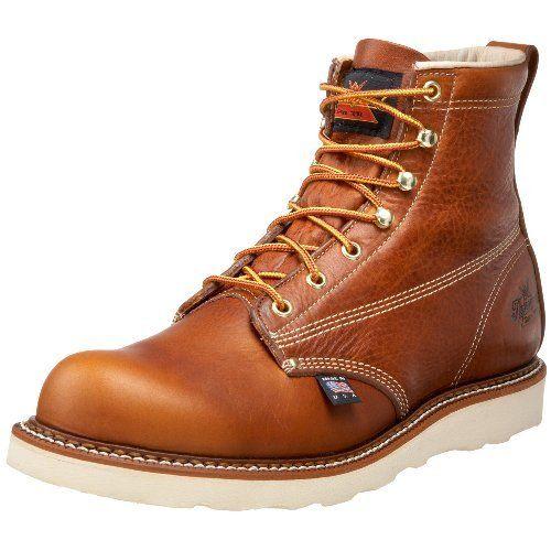 "Thorogood Men's American Heritage 6"" Plain-Toe Boot Thorogood. $130.83. Fiberglass Shank. Non-Marking. Slip-Resistant. Removable Dual Density Ultimate Shock Absorption Footbed. leather. Vibram sole. Vibram Christy Blown Rubber Wedge"