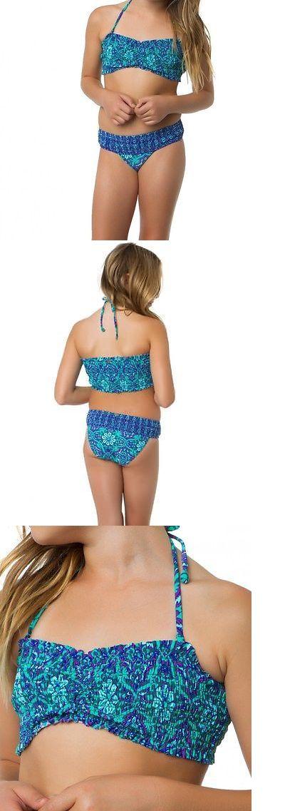 Swimwear 51567: O Neill Girls Majestic Smocked Top Blue 2Pc Bikini Set Swimwear Sz 10 -> BUY IT NOW ONLY: $34.99 on eBay!
