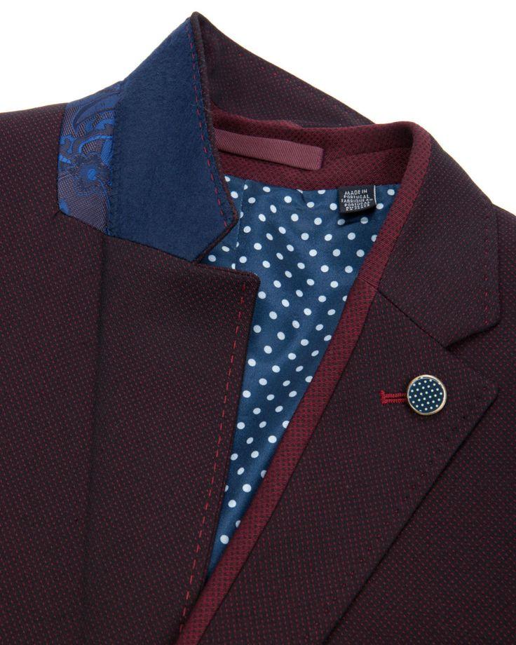 Contrast trim blazer - Dark Red | Blazers | Ted Baker