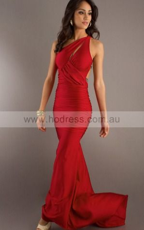 Sleeveless Zipper One Shoulder Floor-Length Satin Evening Dresses eraa1033--Hodress