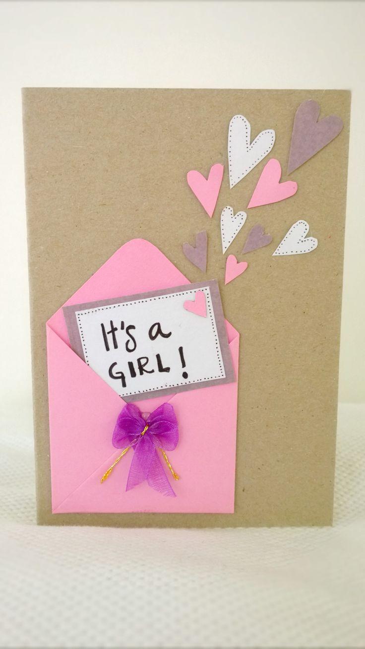 Onnittelukortti tyttövauvalle/ Card for baby girl
