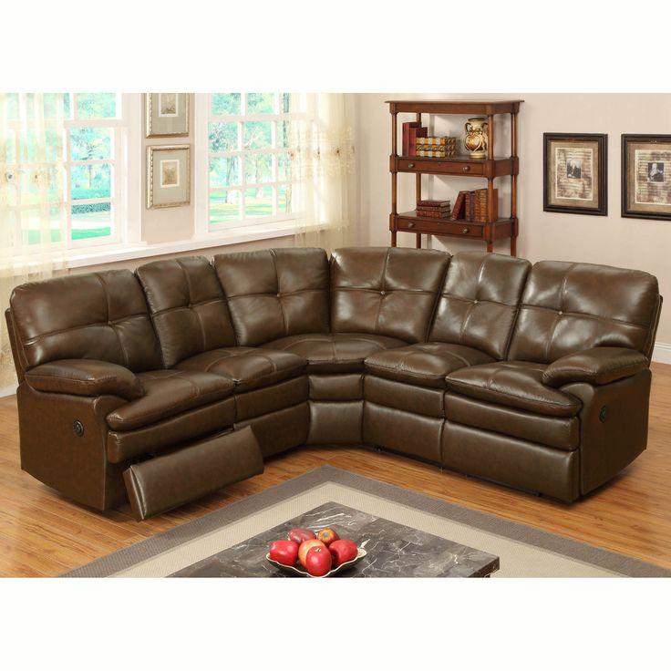clarington brown italian leather motorized reclining sectional sofa