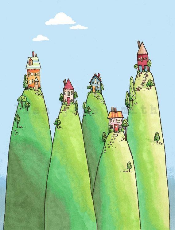 Landscape+with+cute little houses by+LisaJaneSmith   #illustrator #illustration #art #color #paint #ilustração #arte #sketch #sketchbook #rough #wip #cartoon