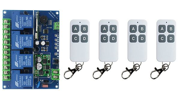 [Visit to Buy] #Advertisement DC12V 24V 36V 48V 4CH 30A RF wireless remote control switch System, ransmitter+Receiver,315/433 MHZ Gate Electric Doors shutters
