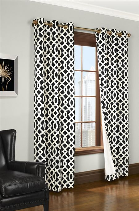 Black white thermal curtain design ideas   Geometric ...