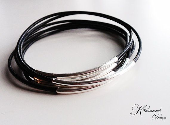 Black Leather Bangle Bracelet Silver Tube Leather by KTownesend