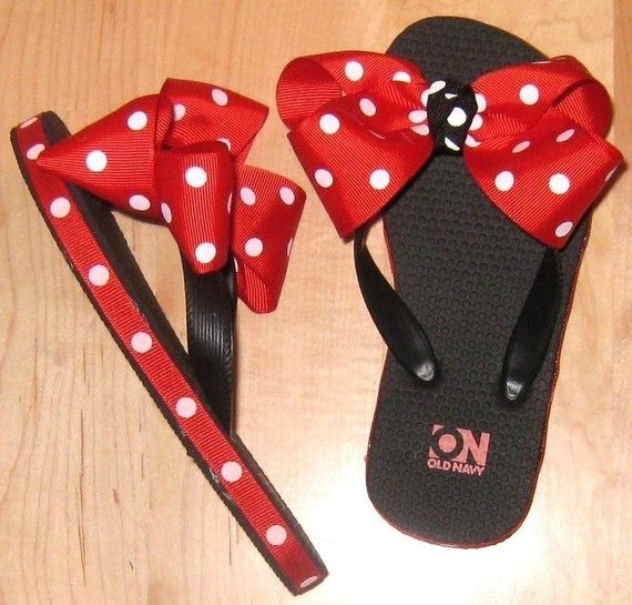 Black flip flops with red polka dot blow. $13 on Etsy.