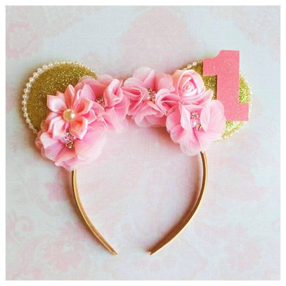 Pink And Gold Minnie Mouse Ear Headband, Minnie Mouse Inspired,First Birthday,Pa