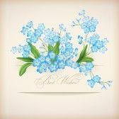 Flores azules del resorte forget-me-not postal tarjeta de felicitación floral con la bandera, las sombras y los mejores deseos de texto sobre un fondo beige con estilo retro perfecto para la boda, saludo o diseño de la invitación stock photography