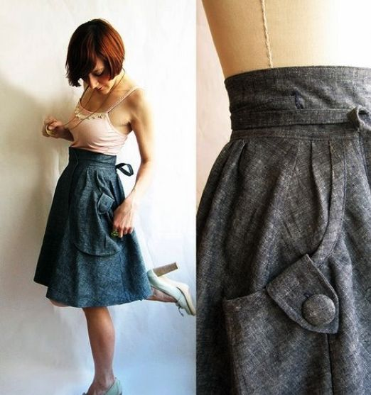 I love skirts with pockets! Most of mine are long and fluffy, but this is a darling length as well. Better suited to winter, certainly.