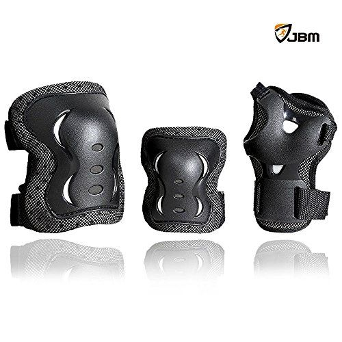 JBM Children Cycling Roller Skating Knee Elbow Wrist Protective Pads--Black / Adjustable Size, Suitable for Skateboard, Biking, Mini Bike Riding and Other Extreme Sports